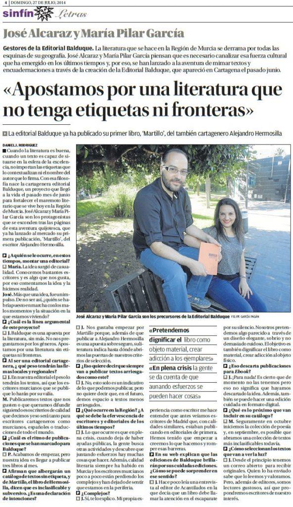 Entrevista publicada en La Opinión de Murcia.